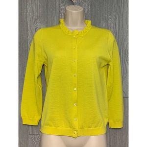 J. Crew Yellow Merino Wool Cardigan Sweater M